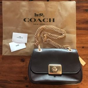 COACH BRAND NEW Dark Maroon and Gold Crossbody